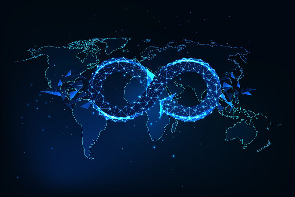 Futuristic global circular economy concept with glowing low polygonal infinity sign on the world map isolated on dark blue background. Modern wire frame mesh design vector illustration.