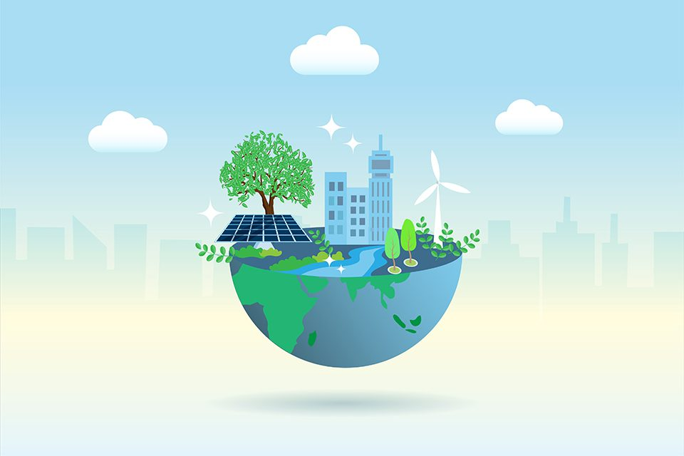 Green globe with friendly environment buildings, wind turbines and solar panels. Ecology, environment, earth day and natural resources concept.